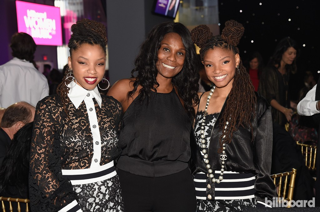 Chloe X Halle pose with Yvette Noel-Schure at the Billboard Women in Music 2016 event on Dec. 9, 2016 in New York City.