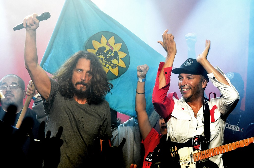 Chris Cornell and Tom Morello of Audioslave perform at Prophets of Rage and Friends' Anti Inaugural Ball at the Taragram Ballroom on Jan. 20, 2017 in Los Angeles.