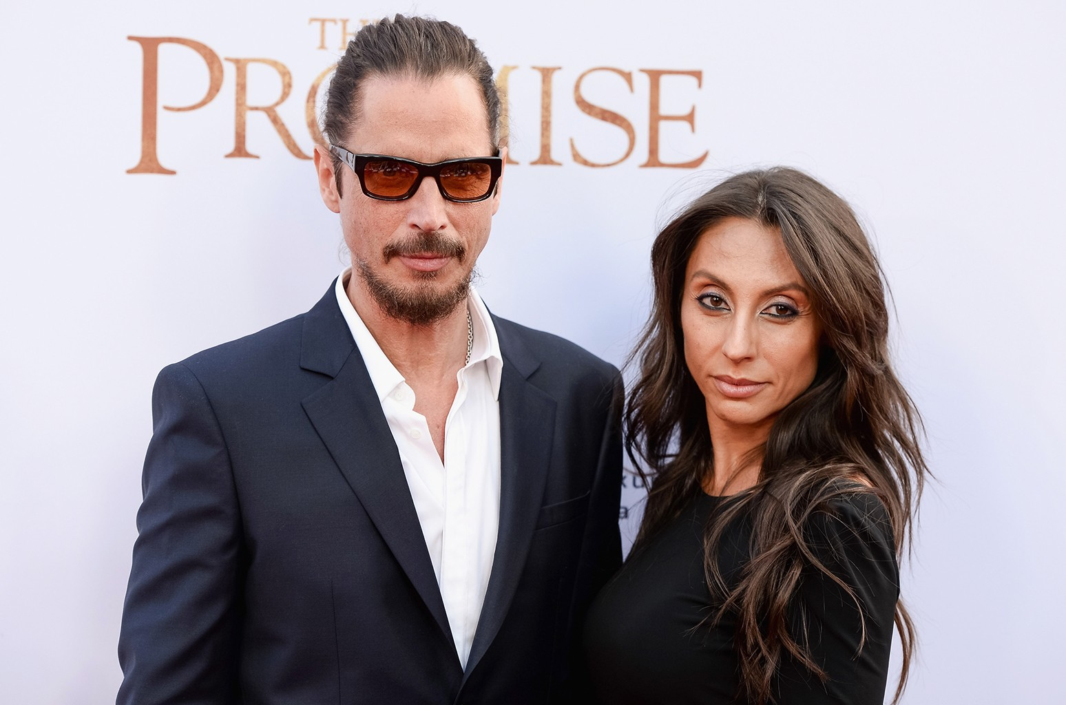 Chris Cornell and Vicky Karayiannis arrive to the Los Angeles premiere of The Promise at TCL Chinese Theatre on April 12, 2017 in Hollywood, Calif.