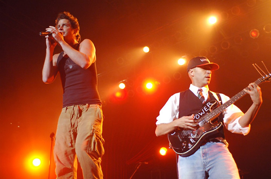 Chris Cornell and Tom Morello of Audioslave perform at Roseland in New York City on April 30, 2005.