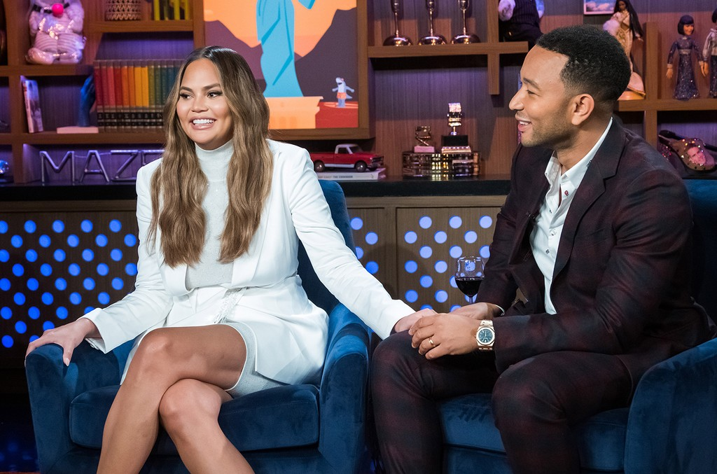Chrissy Teigen and John Legend on Watch What Happens Live with Andy Cohen.