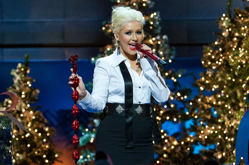 """Christina Aguilera performs """"Have Yourself A Merry Little Christmas"""" during the taping of the Disney Parks Christmas Day Parade at Disney's Grand Californian Hotel & Spa in Anaheim, Calif."""