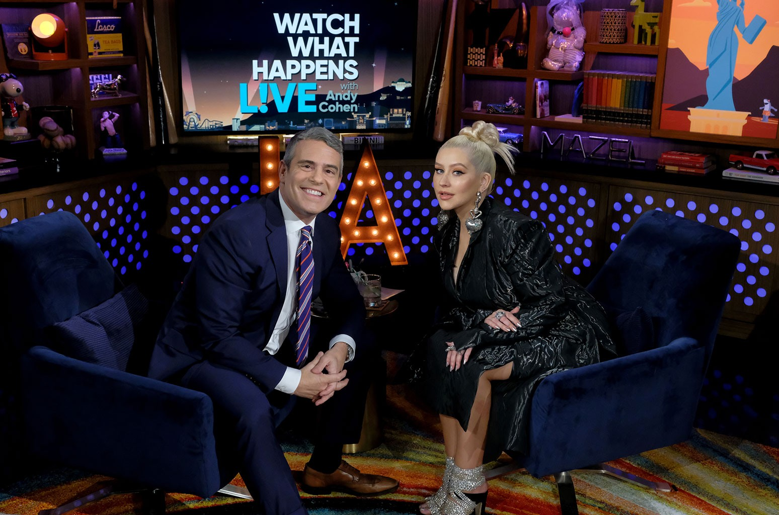 Christina Aguilera on Watch What Happens Live with Andy Cohen.