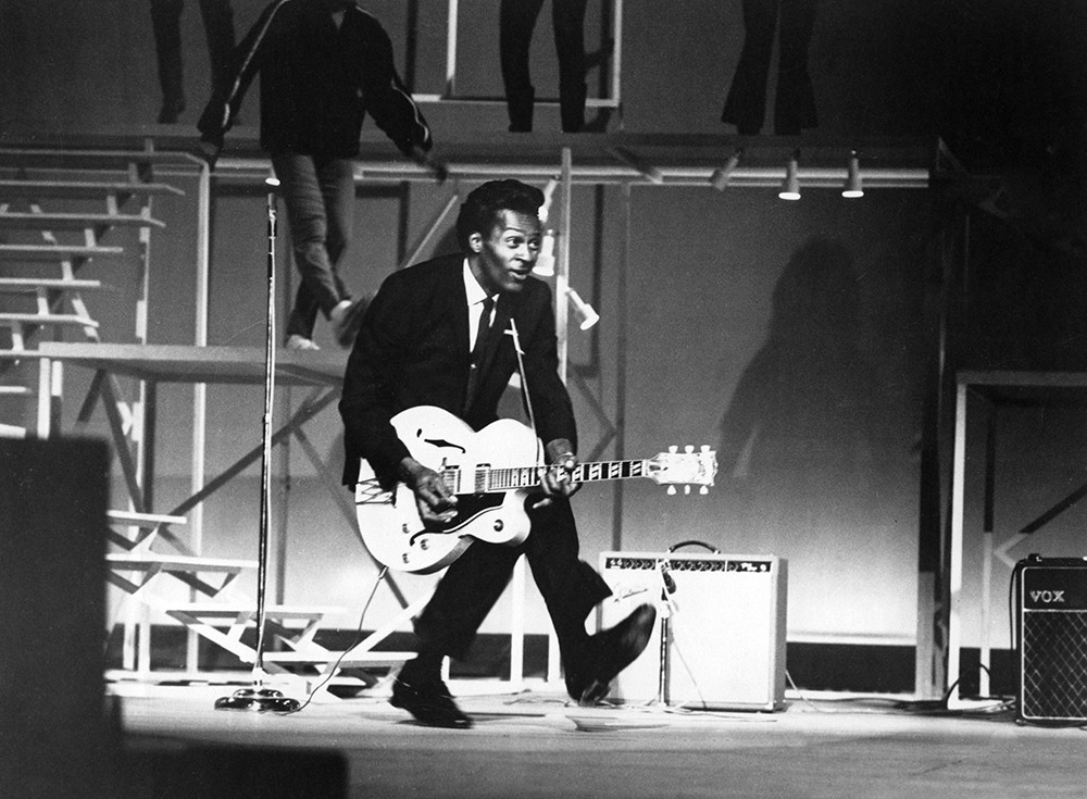"""Chuck Berry performs his """"duck walk"""