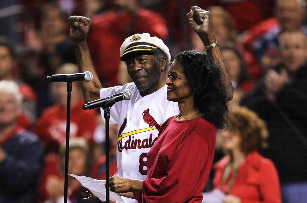 Chuck Berry and his daughter Ingrid perform the national Anthem prior to the St. Louis Cardinals hosting the Milwaukee Brewers during Game Five of the National League Championship Series at Busch Stadium on Oct. 14, 2011 in St Louis, Missouri.