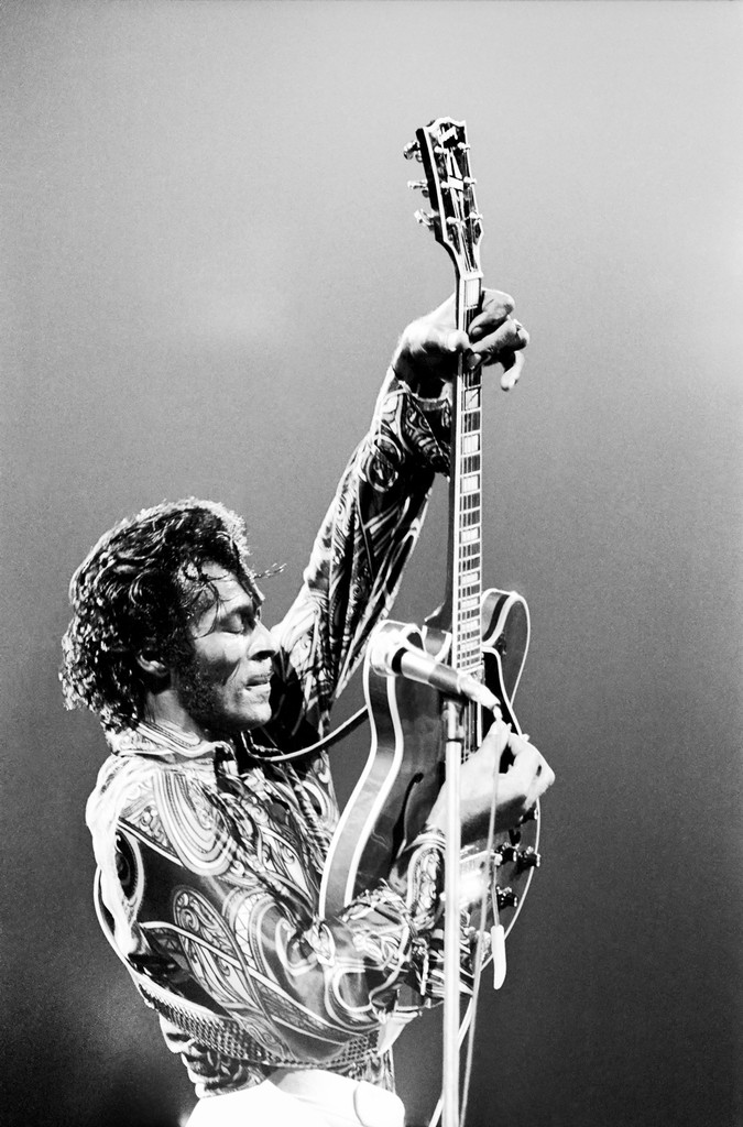 Chuck Berry performs live at Madison Square Garden on Oct. 15, 1971 in New York.