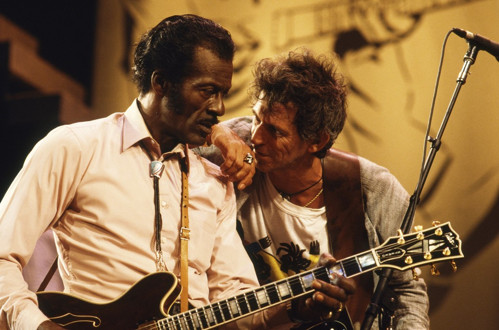 Chuck Berry with Keith Richards of The Rolling Stones at The Fox Threatre  St Louis during filming of the documentary Hail Hail Rock N Roll.