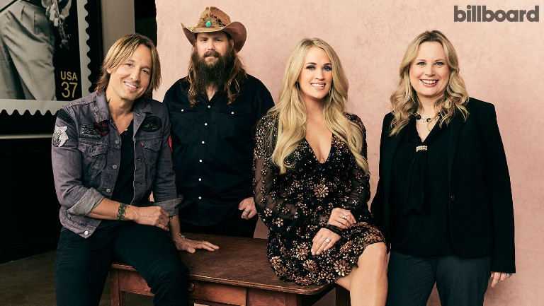 <p>From left: Keith Urban, Chris Stapleton, Carrie Underwood and Cindy Mabe photographed on April 16, 2019 at the Grand Ole Opry in Nashville.</p>