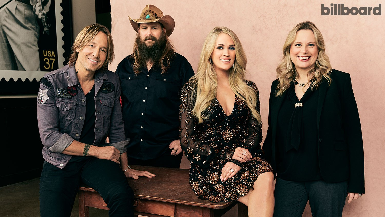 From left: Keith Urban, Chris Stapleton, Carrie Underwood and Cindy Mabe