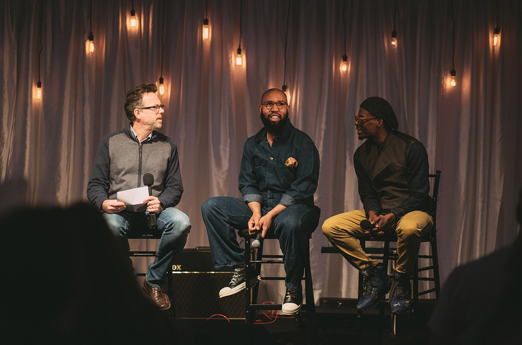 Shore Fire Media's Brian Mansfield with Claude Kelly and Chuck Harmony at Master Class session during YouTube's Nashville Pop-Up Space in February.