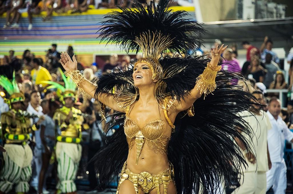 Claudia Leitte dances during the Rio Carnival in Sambodromo on Feb. 7, 2016 in Rio de Janeiro, Brazil.