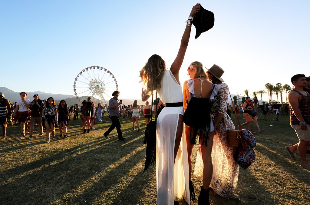 Music fans attend day 2 of the 2016 Coachella Valley Music & Arts Festival (Weekend 1) at the Empire Polo Club on April 16, 2016 in Indio, Calif.