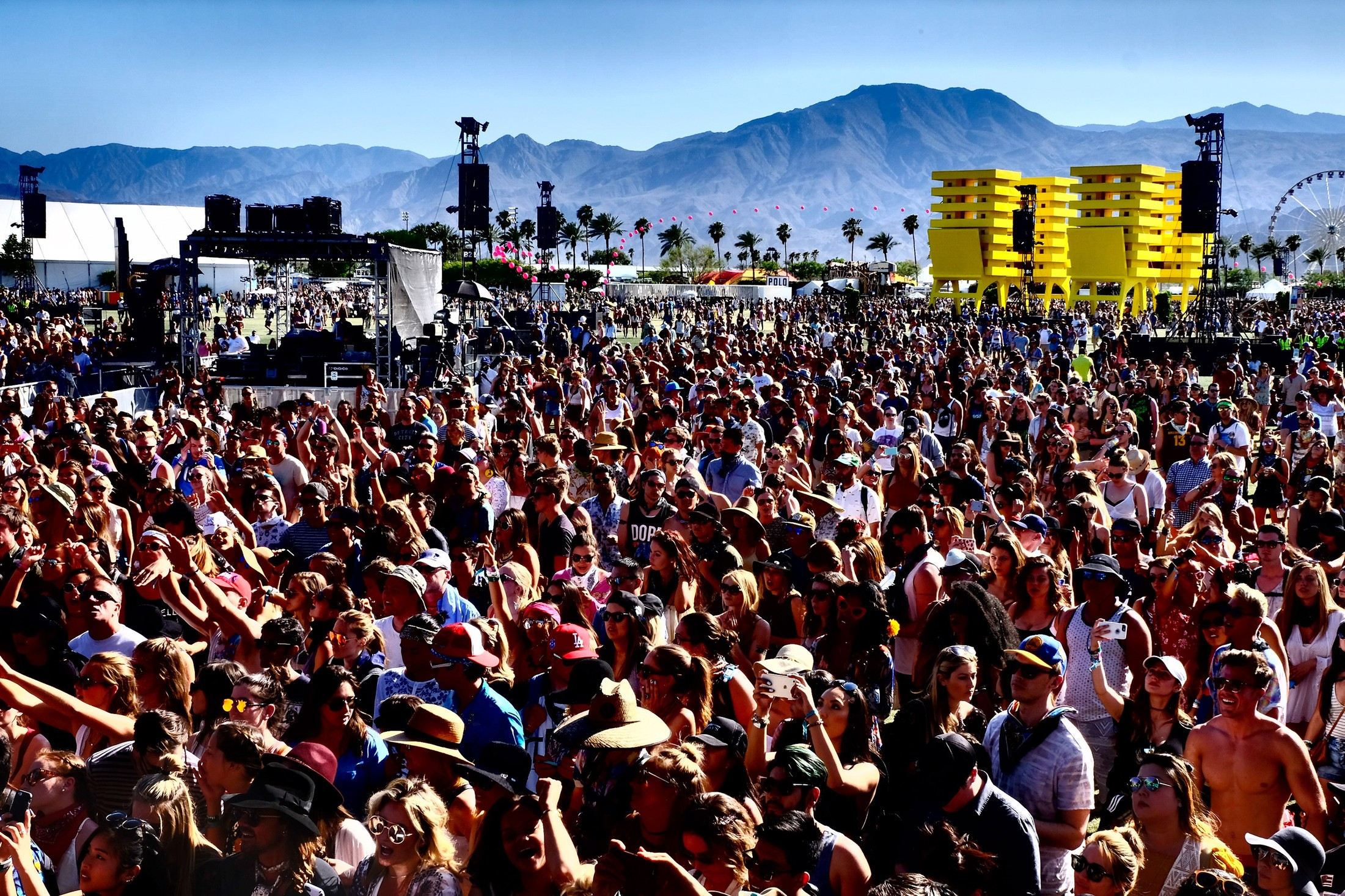 Music Fans attend day 2 of the 2016 Coachella Valley Music & Arts Festival Weekend 1 at the Empire Polo Club on April 16, 2016 in Indio, Calif.