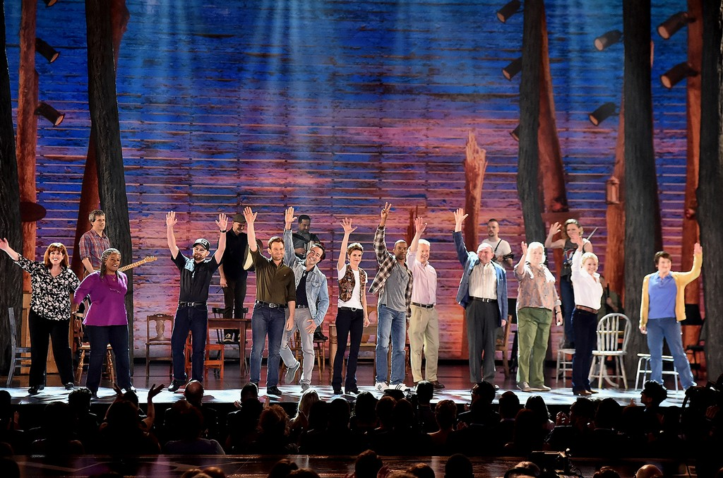 The cast of 'Come From Away' performs onstage during the 2017 Tony Awards at Radio City Music Hall on June 11, 2017 in New York City.