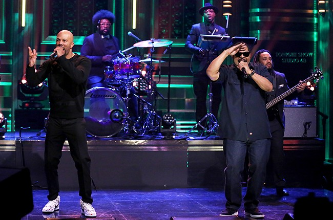 "Common and Ice Cube perform with The Roots on ""The Tonight Show Starring Jimmy Fallon"" on April 11, 2016."