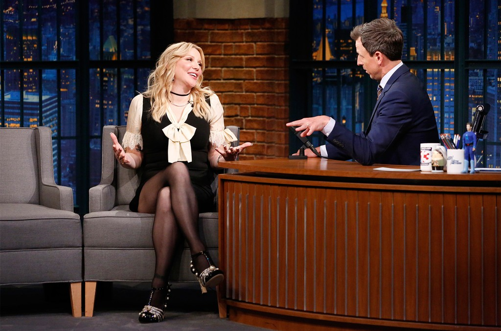 Courtney Love talks with host Seth Meyers during an interview on the Late Night with Seth Meyers on June 6, 2017.