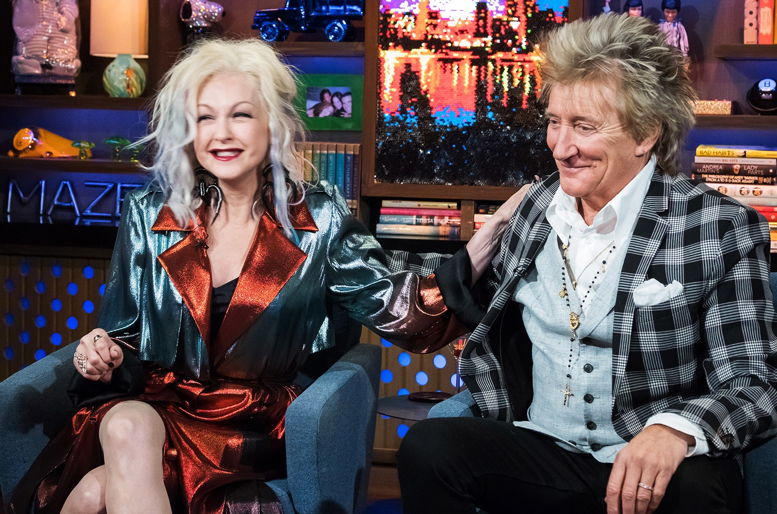 Cyndi Lauper and Rod Stewart on Watch What Happens Live with Andy Cohen.