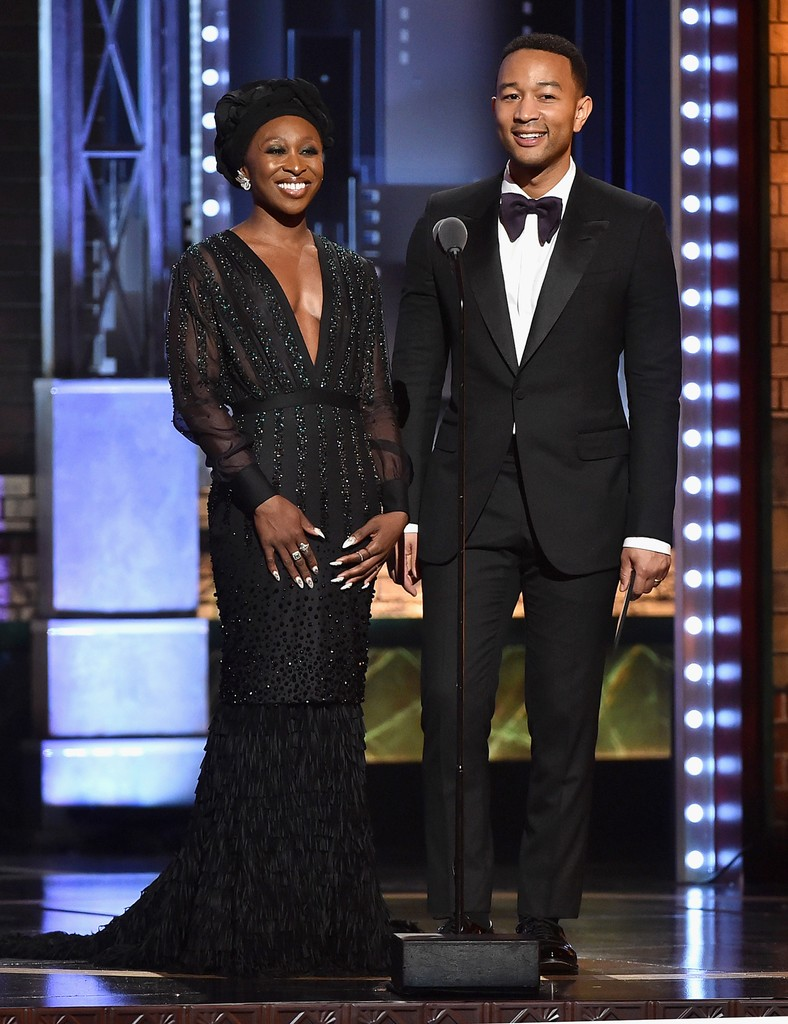 Cynthia Erivo and John Ledgend speak onstage during the 2017 Tony Awards at Radio City Music Hall on June 11, 2017 in New York City.