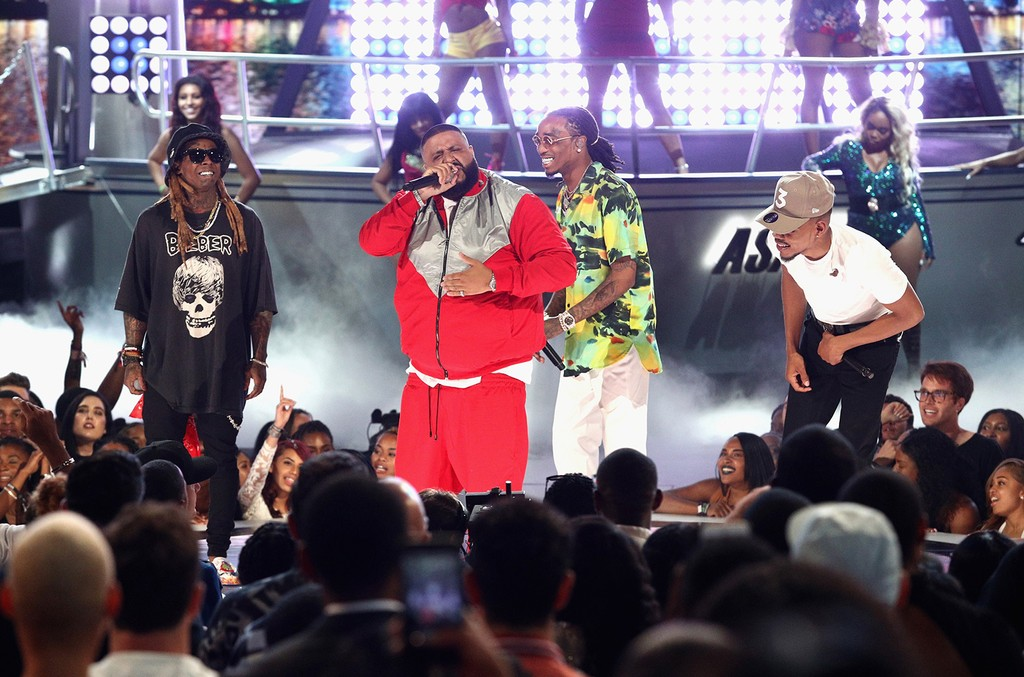 Lil Wayne, DJ Khaled, Quavo of Migos and Chance The Rapper perform onstage at 2017 BET Awards at Microsoft Theater on June 25, 2017 in Los Angeles.