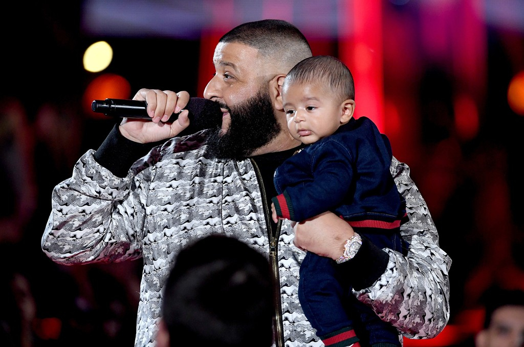 DJ Khaled speaks onstage with Asahd Tuck Khaled at the 2017 iHeartRadio Music Awards which broadcast live on Turner's TBS, TNT, and truTV at The Forum on March 5, 2017 in Inglewood, Calif.