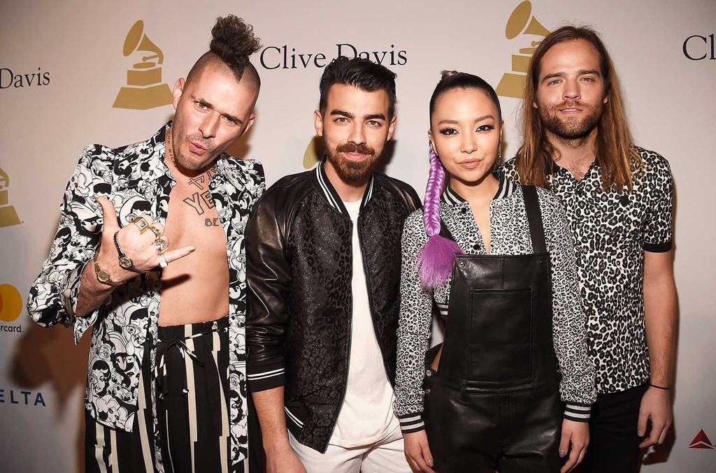 Cole Whittle, Joe Jonas, JinJoo Lee, and Jack Lawless of DNCE attend Pre-Grammy Gala and Salute to Industry Icons Honoring Debra Lee at  The Beverly Hilton on Feb. 11, 2017 in Los Angeles.
