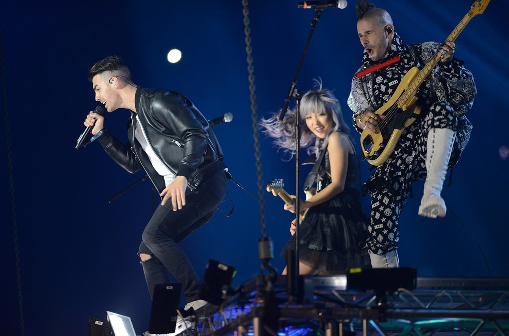 DNCE performs on stage during the MTV Europe Music Awards 2016