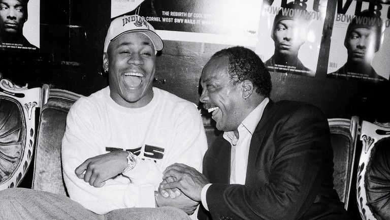 <p>LL Cool J (left) and Jones at the Vibe launch party at Webster Hall in New York in 1993.</p>