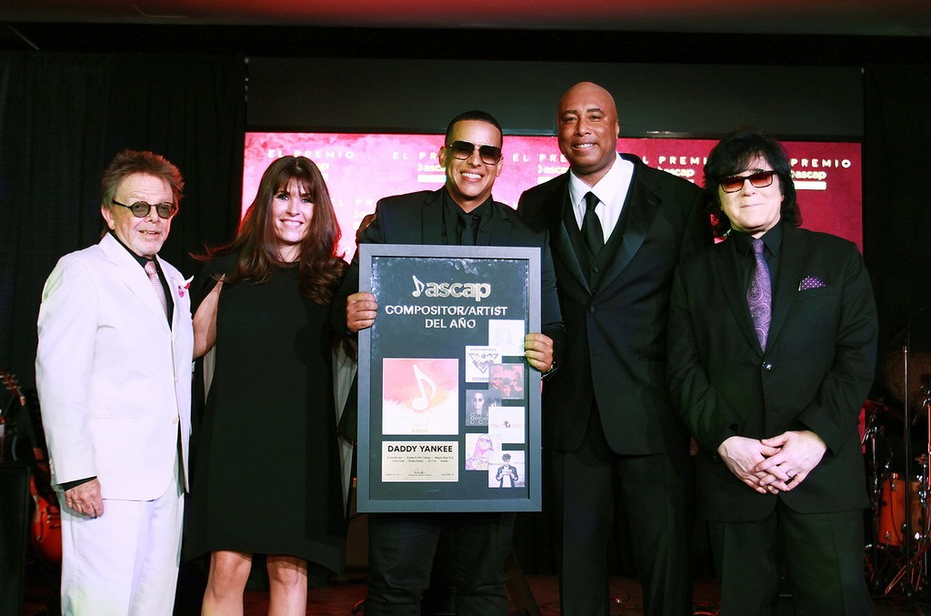 (L-R) Paul Williams, President and Chairman of ASCAP, Gabriela Gonzalez, ASCAP VP Latin, Daddy Yankee, Bernie Williams and John Titta, ASCAP Executive VP