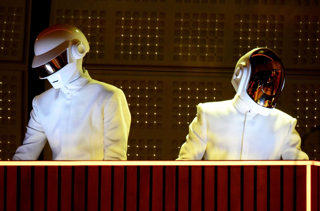 Daft Punk perform at the 56th Grammy Awards at Staples Center on Jan. 26, 2014 in Los Angeles.