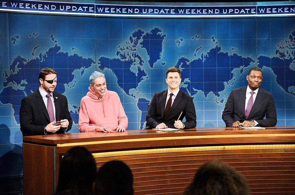 Saturday Night LiveCongressman-elect & Navy Veteran Dan Crenshaw, Pete Davidson, Anchor Colin Jost, and Anchor Michael Che