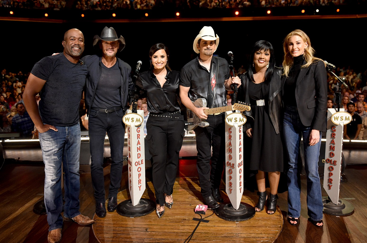 Darius Rucker, Tim McGraw, Demi Lovato, Brad Paisley, CeCe Winans, and Faith Hill attend Hand in Hand: A Benefit for Hurricane Relief at the Grand Ole Opry House on Sept. 12, 2017 in Nashville, Tenn.