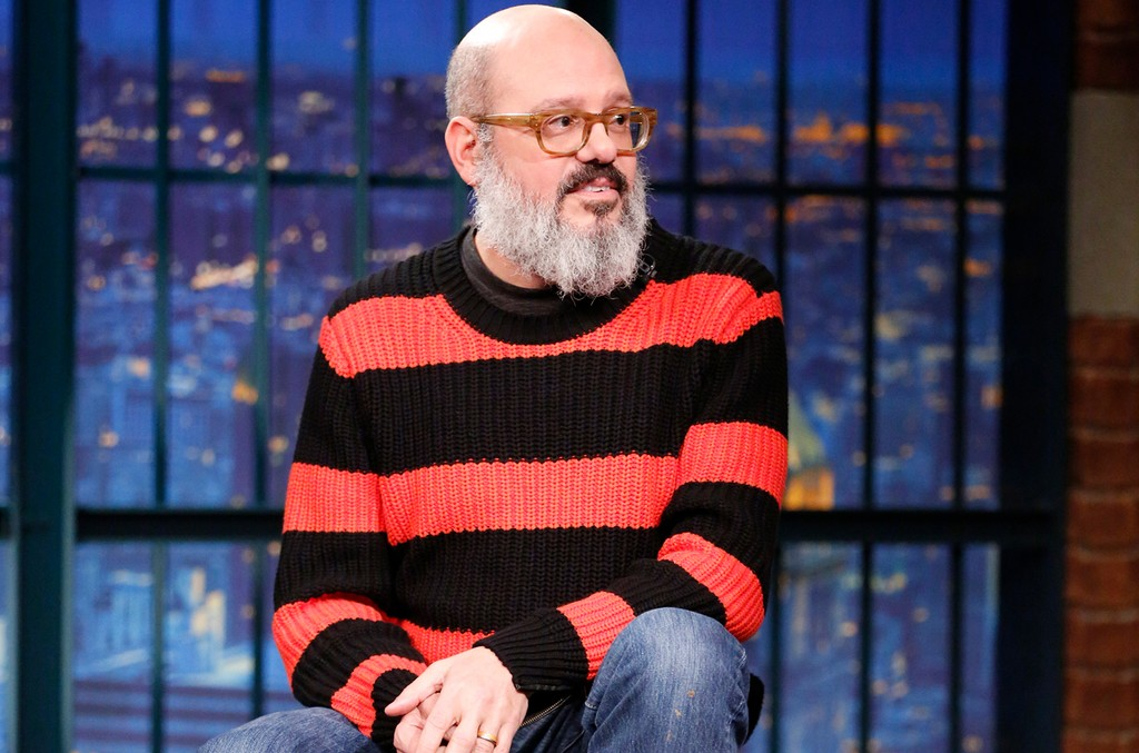 David Cross during an interview with host Seth Meyers on Late Night with Seth Meyers on Jan. 11, 2016.