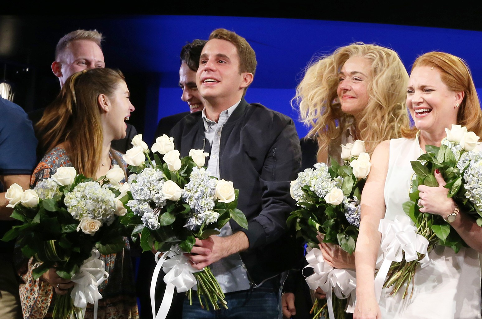 """Ben Platt and cast members attend curtain call during """"Dear Evan Hansen"""" Broadway opening night at Music Box Theatre on Dec. 4, 2016 in New York City."""