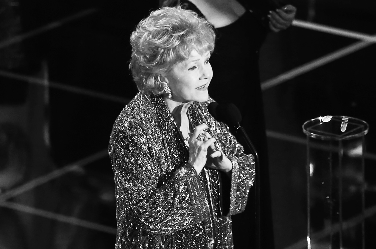 Debbie Reynolds, recipient of the Lifetime Achievement Award, speaks onstage at TNT's 21st Annual Screen Actors Guild Awards at The Shrine Auditorium on Jan. 25, 2015 in Los Angeles.