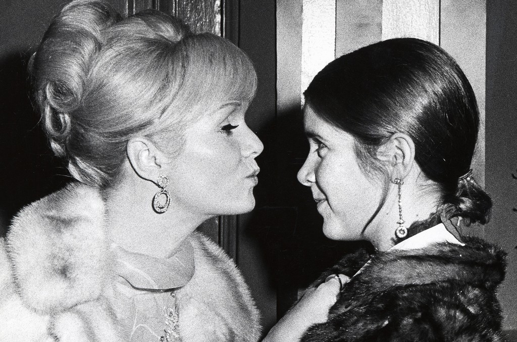 Debbie Reynolds and Carrie Fisher at Town Hall in New York City on Nov. 6, 1972.