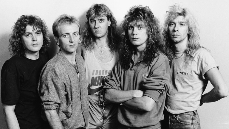 <p>Def Leppard photographed prior to their home town concert in Sheffield, England on Oct. 9, 1987.</p>
