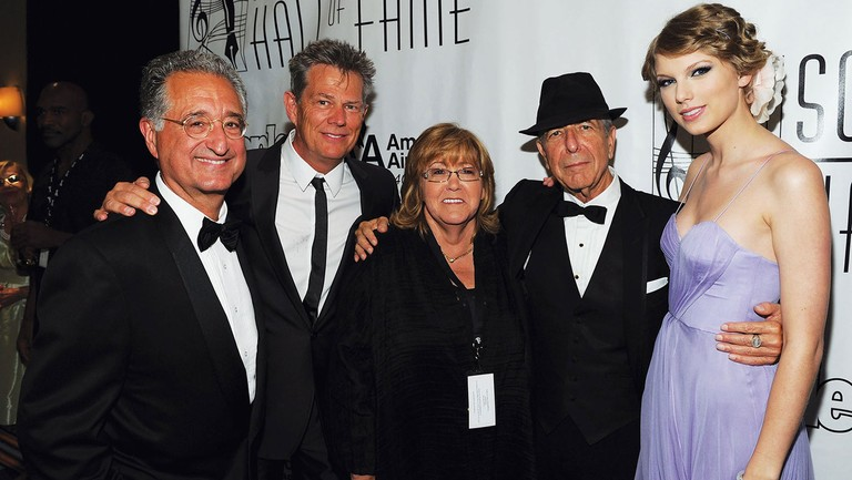 <p>From left: BMI president of broadcast music Del Bryant, David Foster, Moran, Leonard Cohen and Taylor Swift at the 2010 SHOF ceremony in New York.</p>