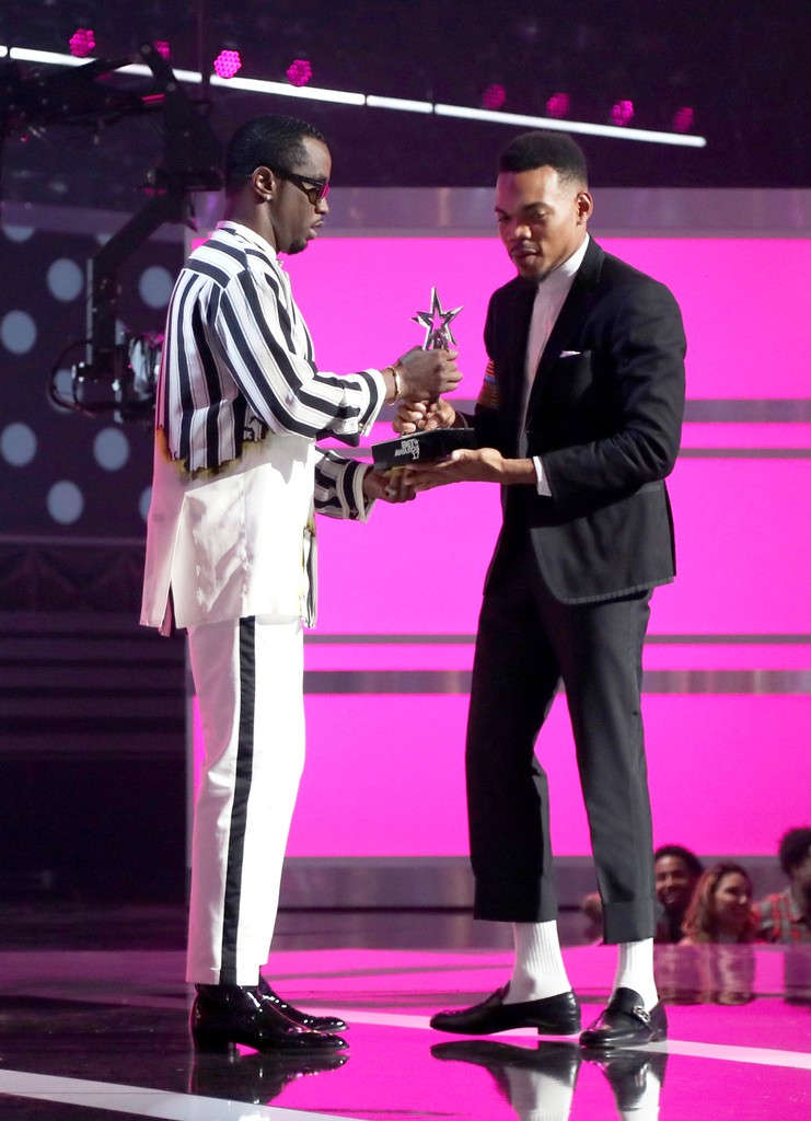 Diddy and Chance the Rapper onstage at 2017 BET Awards at Microsoft Theater on June 25, 2017 in Los Angeles.