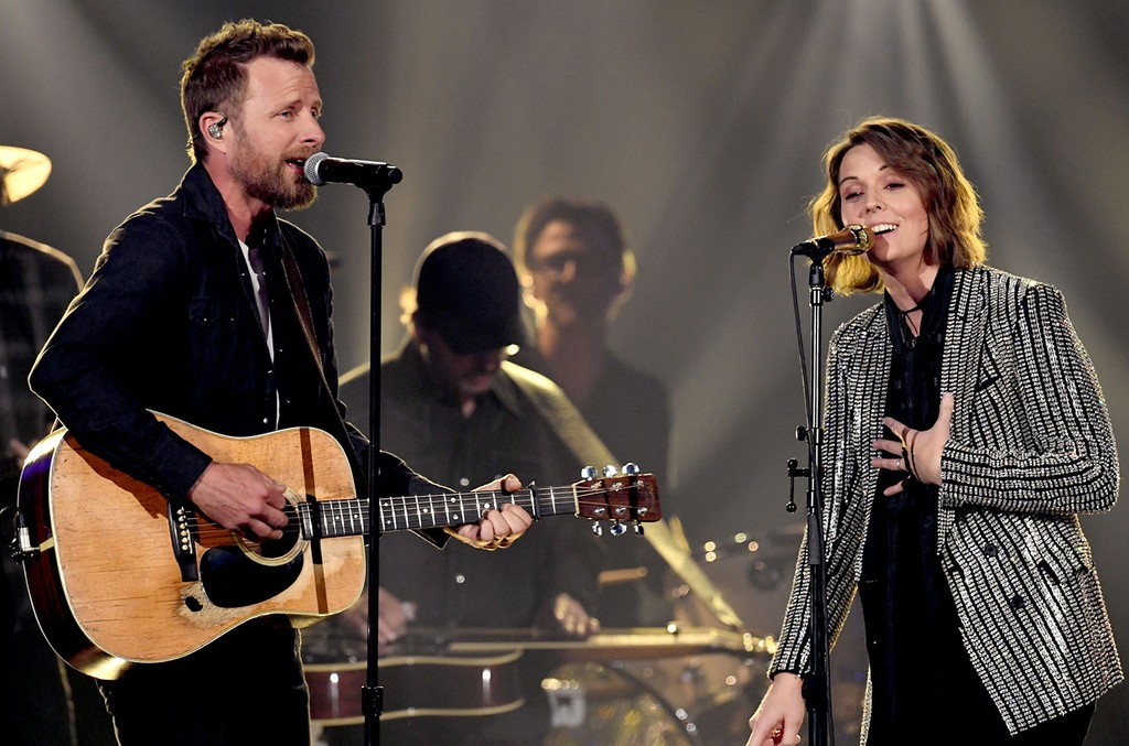 Dierks Bentley and Brandi Carlile perform onstage during the 54th Academy Of Country Music Awards at MGM Grand Garden Arena on April 07, 2019 in Las Vegas, Nevada. (Photo by Kevin Winter/Getty Images)