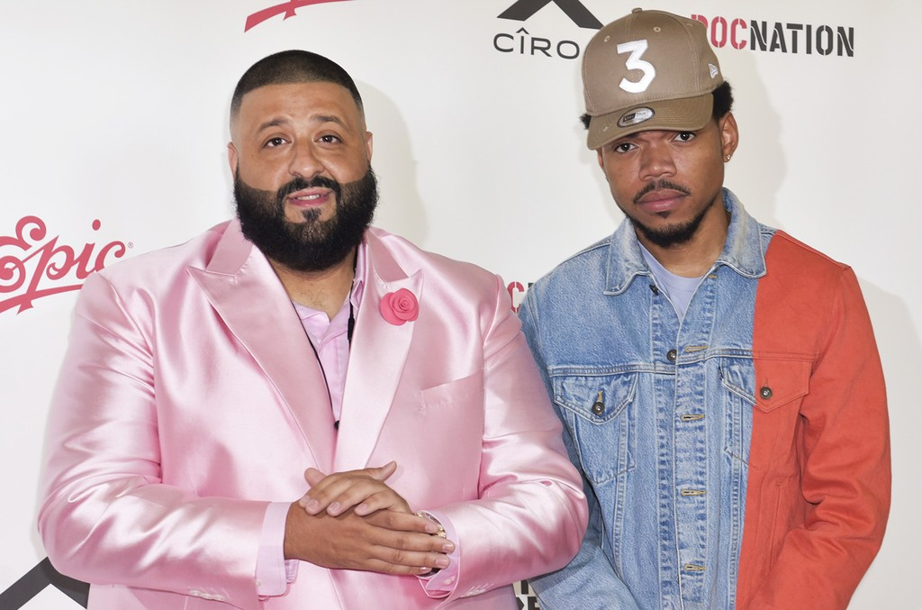 DJ Khaled and Chance the Rapper attend a press conference at The Beverly Hills Hotel on Feb. 9, 2017 in Beverly Hills, Calif.