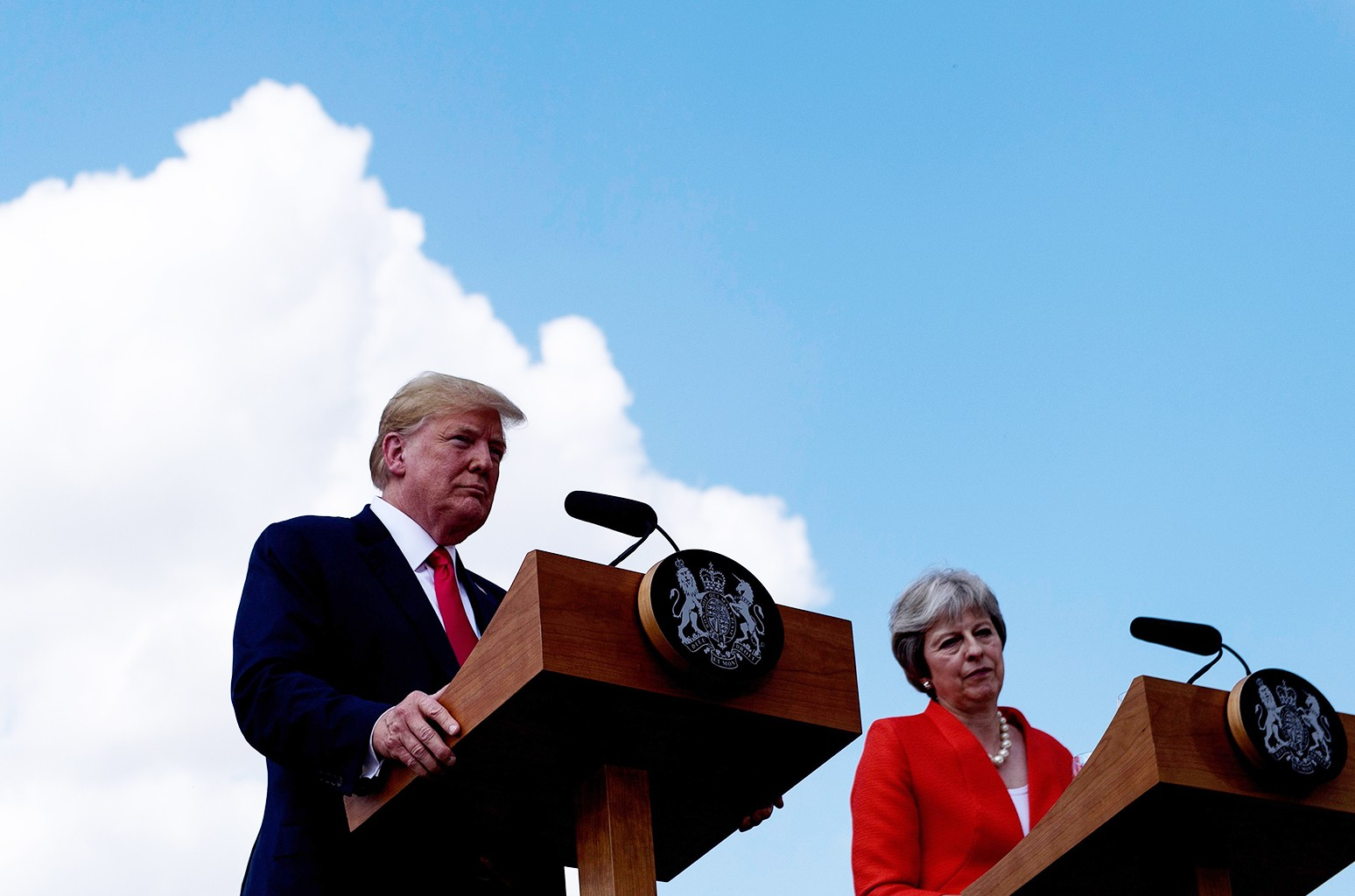 Donald Trump and Britain's Prime Minister Theresa May