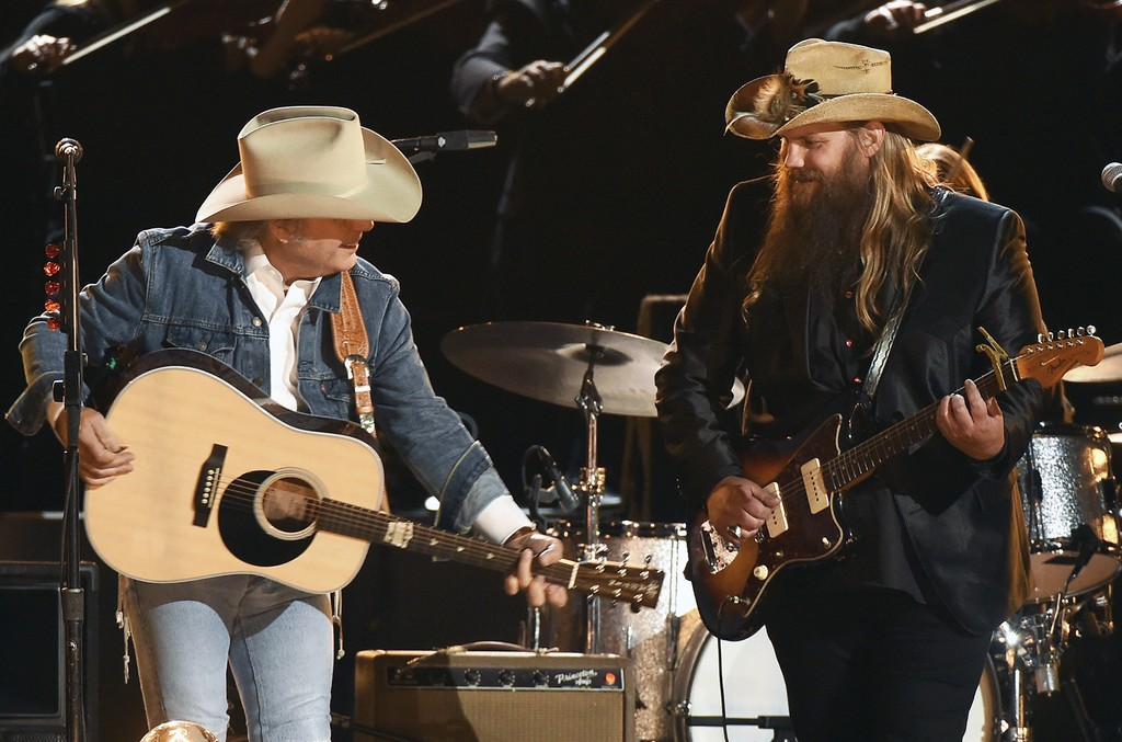 Dwight Yoakam and Chris Stapleton perform at the 50th annual CMA Awards