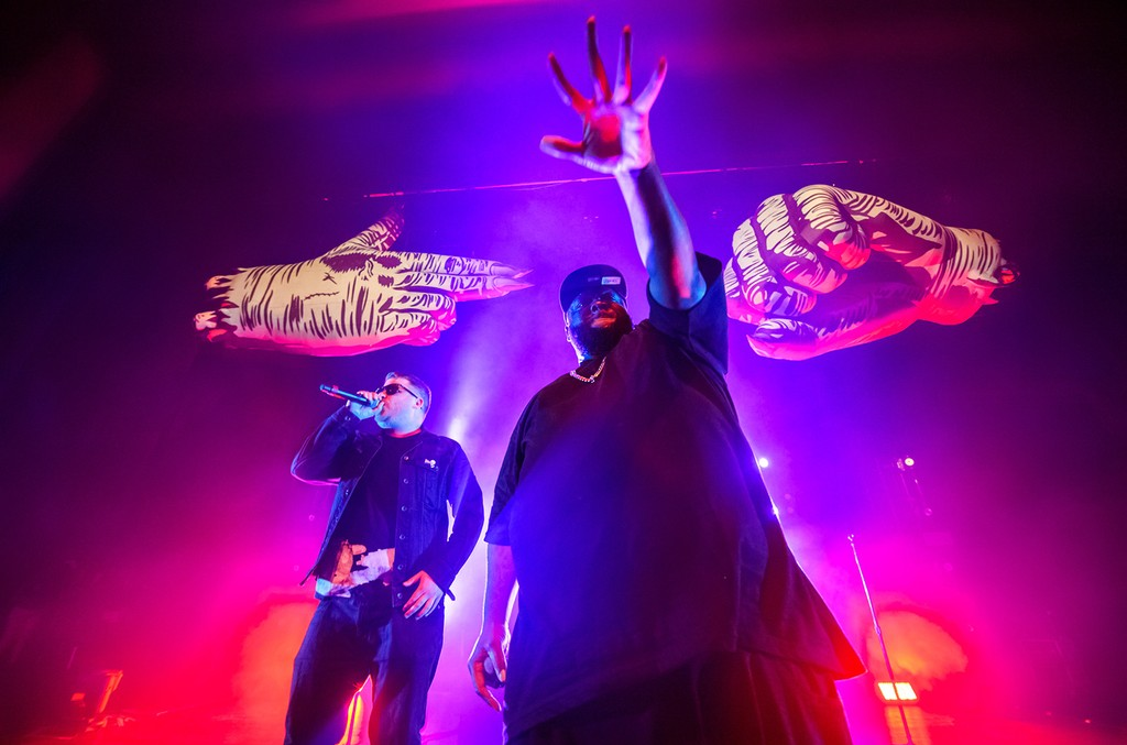 EL-P and Killer Mike of Run the Jewels perform on stage at Fillmore Miami Beach on Jan. 25, 2017 in Miami Beach.