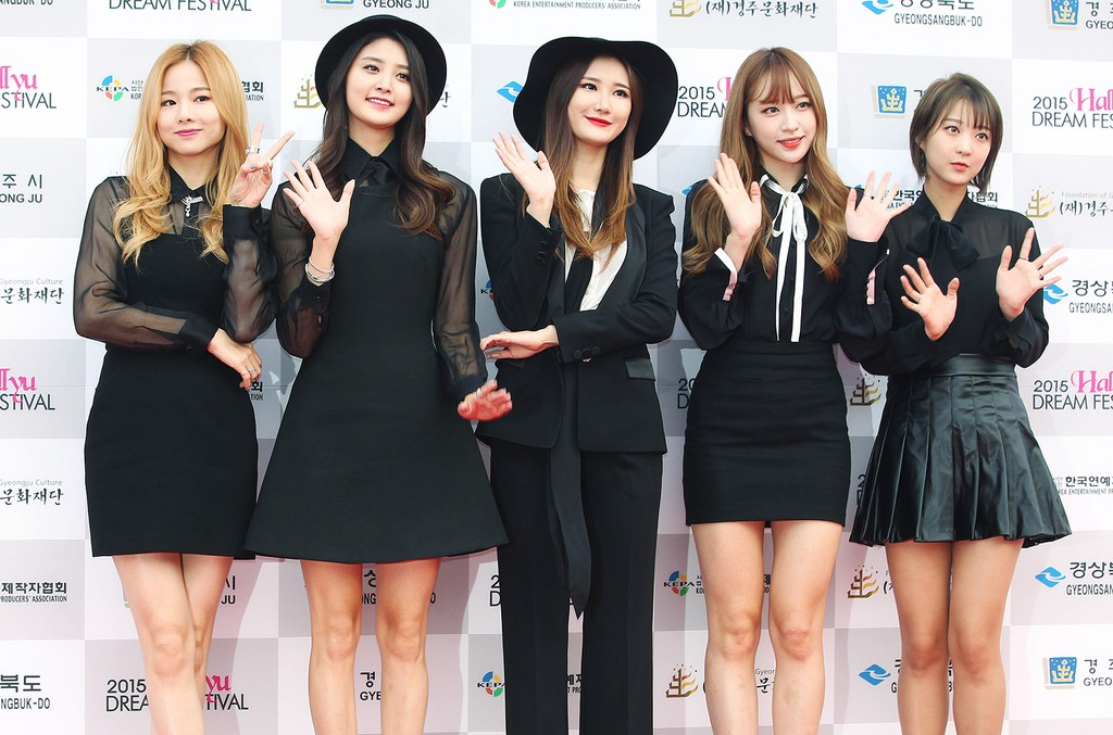 EXID pose for photographs during the 2015 Hallyu Dream Festival at Gyeongju Civic Stadium on Sept. 20, 2015 in Gyeongju, South Korea.