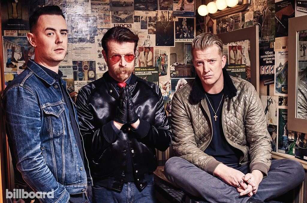From left: Colin Hanks, Jesse Hughes and Josh Homme photographed Jan. 26 at Good Times at Davey Wayne's in Los Angeles.