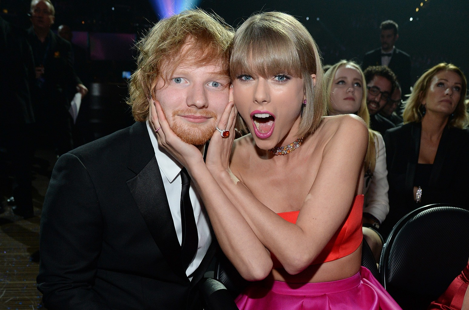 Ed Sheeran and Taylor Swift attend The 58th Grammy Awards at Staples Center on Feb. 15, 2016 in Los Angeles.