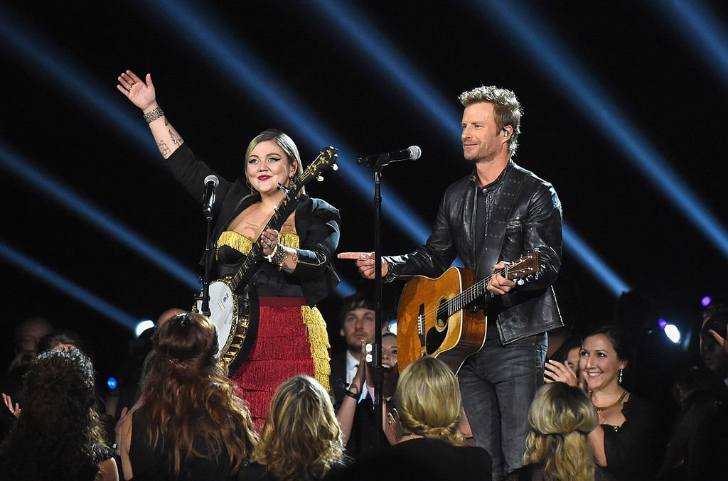 Elle King and Dierks Bentley perform onstage at the 50th annual CMA Awards