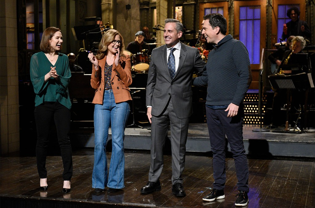 Ellie Kemper, Jenna Fischer, Host Steve Carell, and Ed Helms during the Monologue on Nov. 17, 2018.