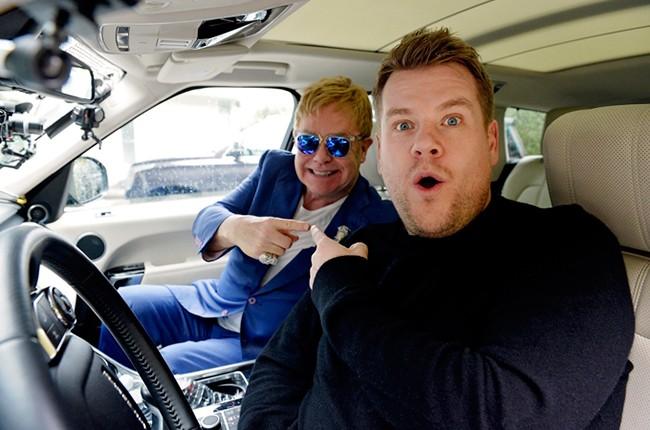 Elton John and James Corden