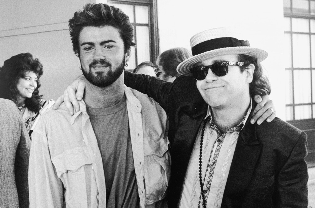 George Michael and Elton John at the Live Aid concert at Wembley on July 13, 1985.